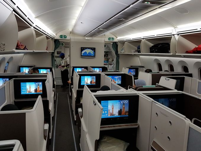 Oman Air Boeing 787 Dreamliner Business Class Cabin July