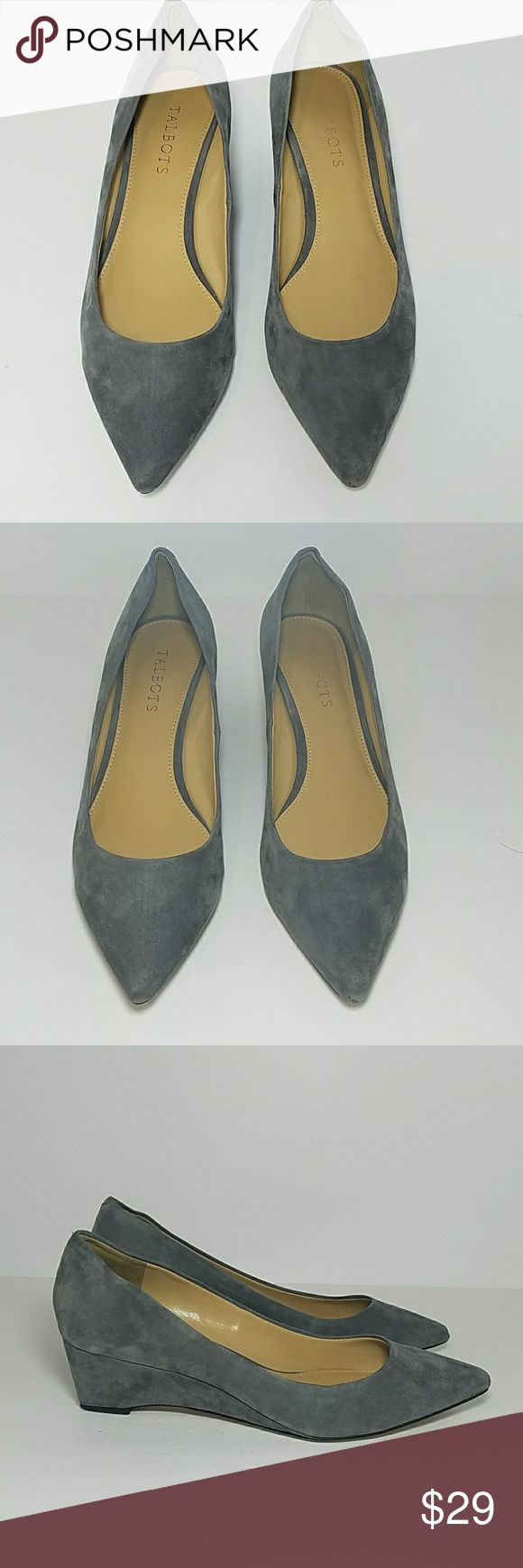 Gray suede pointed wedges bt Talbots Gray suede wedges with pointed toe.  Condition is used with normal wear on the soles and some wear on the heels. Talbots Shoes Wedges