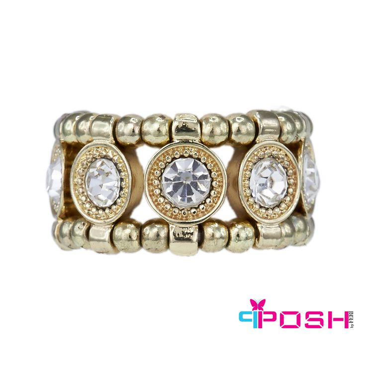 "Ella - Ring.   -Stretch ring - Gold tone metal with a single row of white crystals - Dimension: 0.4"" width - Stretch ring will fit most sizes.  POSH by FERI - Passion for Fashion - Luxury fashion jewelry for the designer in you."