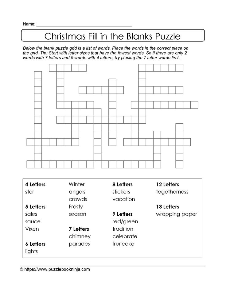 16 best Christmas Puzzles images on Pinterest Christmas puzzle - blank crossword template