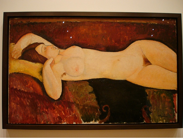 """At MOMA. Modigliani. I admire his work generally, but his female nudes are awe inspiring. This is aptly entitled """"Reclining Nude."""""""