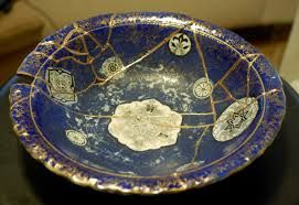 """Putting the Pieces Back Together: This idea is inspired by the Japanese art, """"kintsugi,"""" which involves fixing broken pottery with a gold resin, leaving the cracked, repaired piece more beautiful than..."""