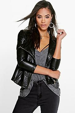 Helena Faux Leather Biker Jacket