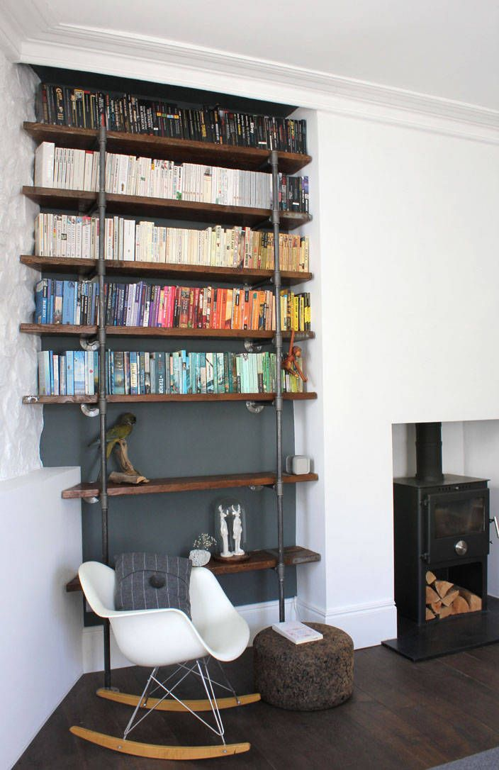 Decorative Hanging Wall Book Shelves in Various Room: Wood Burning Prefab Fireplace For Decorative Hanging Wall Book Shelves In Various Room Decorated By Log Rocking Chairs