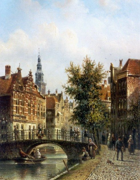 Johannes Franciscus Spohler (Rotterdam 1853-1894 Amsterdam) View of Amsterdam, with the Oude Kerk in the distance - Dutch Art Gallery Simonis and Buunk Ede, Netherlands.