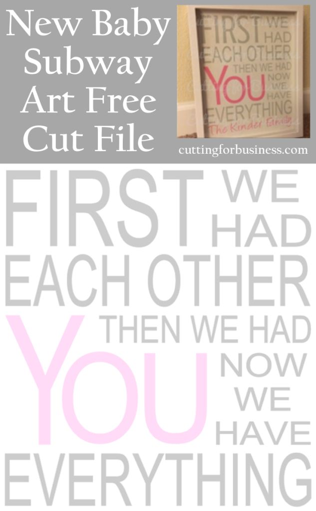 Freebie Friday: New Baby Subway Art Cut File for Silhouette or Cricut machines - Personal or Commercial Use - cuttingforbusiness.com