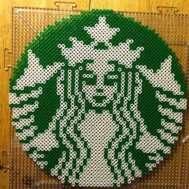 Starbucks logo perler beads by bmachado13