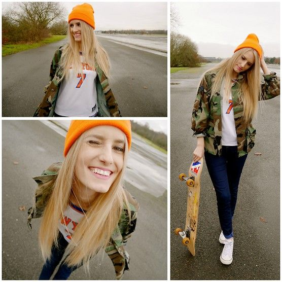 Get this look: http://lb.nu/look/7064102  More looks by Sophie Eggleton: http://lb.nu/sophieeggleton  Items in this look:  Mossimo Orange Beanie, Rokit Camo Jacket, Ny Knicks Knicks Basketball Top, Primark Blue Jeans, Primark White Canvas Trainers   #grunge #boyish #tomboy #skate #skatergirl #sports #streetwear #skinnyjeans #basketball