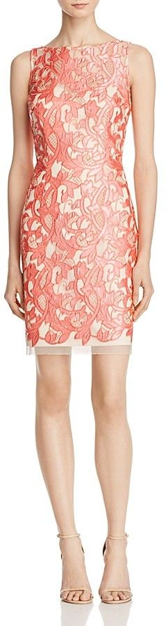 Aidan Mattox Sleeveless Lace Cocktail Dress