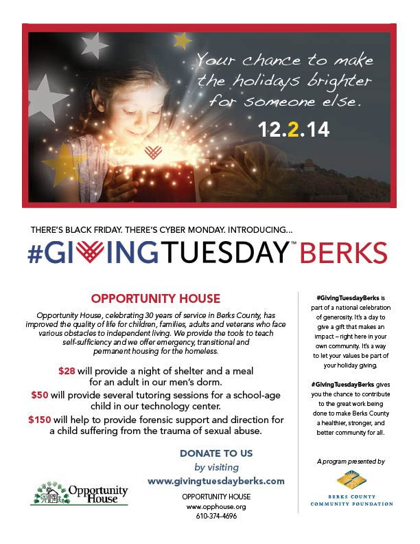 Support Opportunity House as part of #GivingTuesdayBerks! $28 will provide a night of shelter