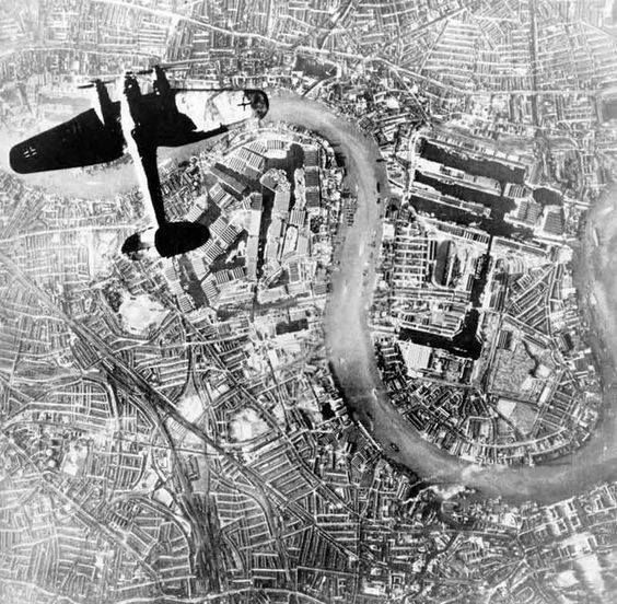 A famous image of the bombing of London a Heinkel III bomber over the Thames taken from another German bomber at 6.48pm on the 7th September 1940