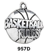 Basketball Rules Charm Sterling Silver
