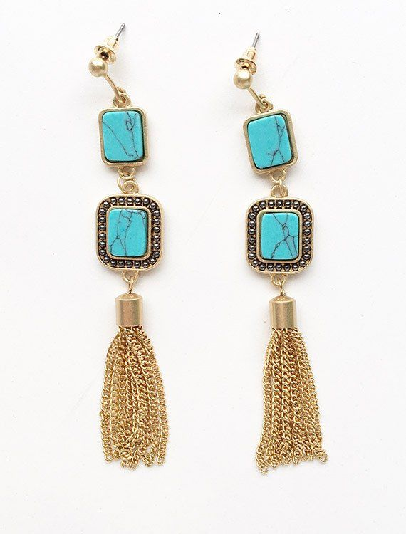 Turquoise Marble Tassel Drop Earrings