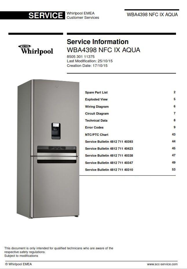whirlpool wba4398 nfc ix aqua refrigrator service manual