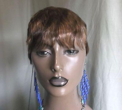 Foxy Silver wig brown w/blonde 100% human hair boy cut easy styling !! NWT