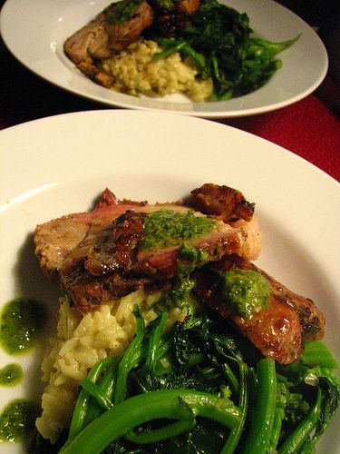 Roasted Pork with Salsa Verde, Risotto and Broccoli di ...