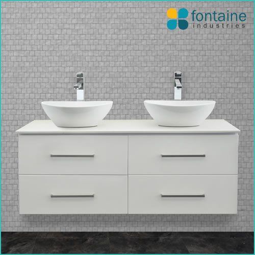 Omega 1200 twin double ceramic basin bathroom vanity with stone top | Renovation Design Ideas Affordable | Fontaine Industries |