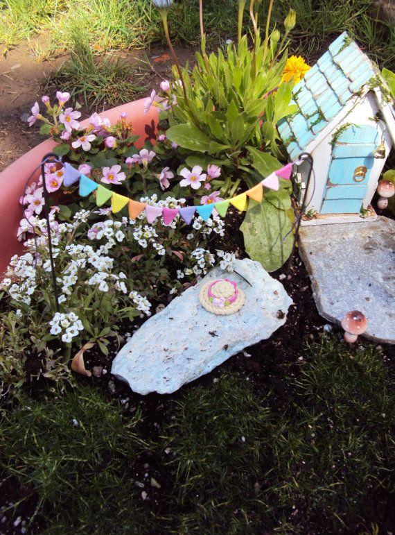 Fairy Garden Bunting Flags, Miniature Garden Pennant. Fairy Flags, Miniature Bunting, Pastel Bunting, Polymer Clay Flags on Etsy, $9.00
