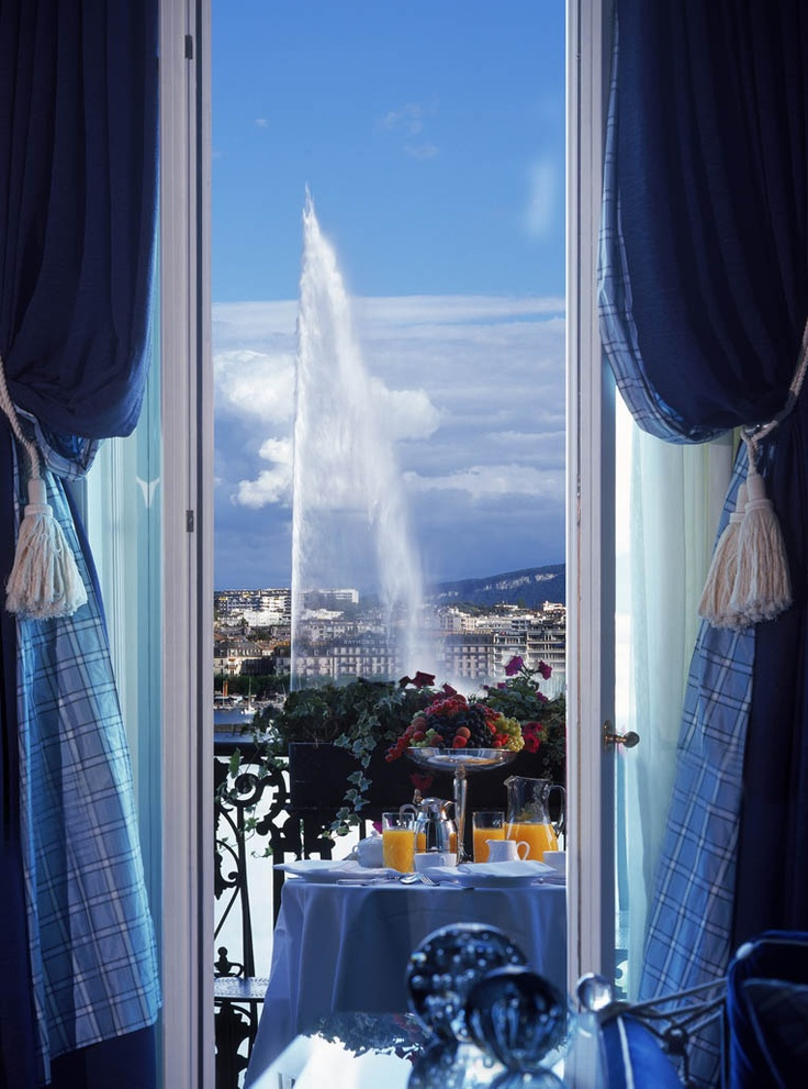 The view of Jet d'Eau in Lake Geneva, from the Presidential Suite of Hotel d'Angleterre.