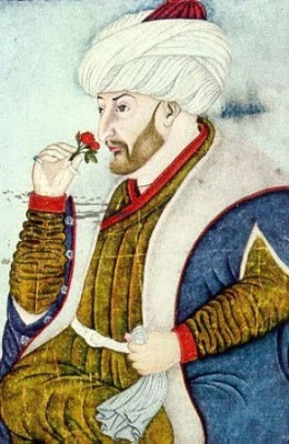 Siblizade Ahmed, Mehmed II Smelling a Rose, 1480  (Topkapi Palace Museum)