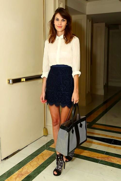 Alexa Chung - white sheer top with black lace skirt