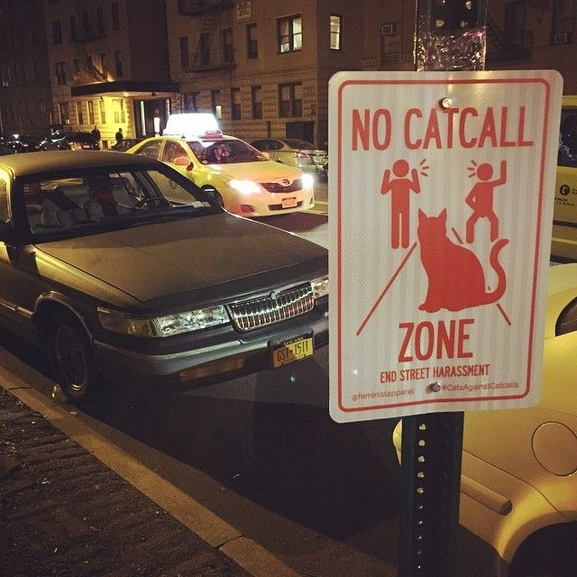 Anti-catcalling street signs have appeared across New York: http://www.dazeddigital.com/artsandculture/article/24444/1/anti-catcalling-street-signs-appear-across-new-york