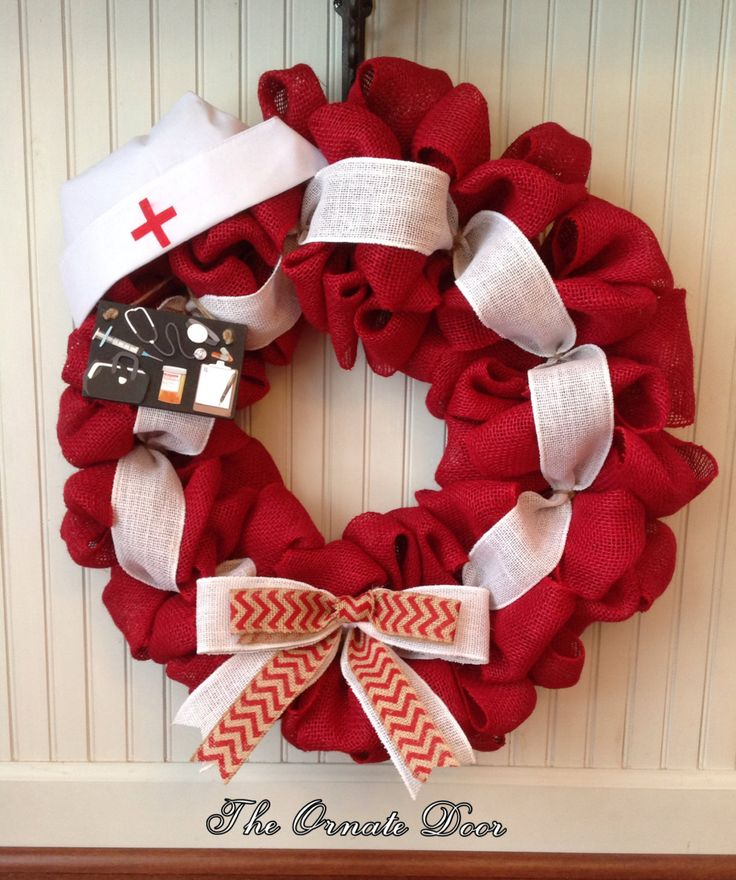 Nurse wreath, medical wreath, made to order, school nurse wreath, red burlap nurse wreath, burlap nurse wreath, red burlap medical wreath by TheOrnateDoor on Etsy