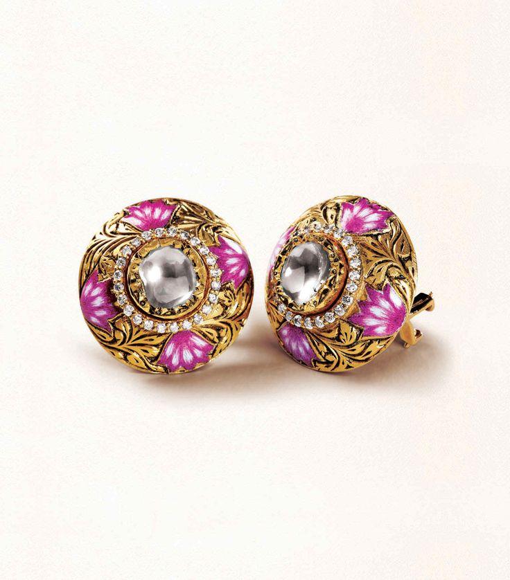 Zoya stud earrings in yellow gold with polki diamonds, engraving and enamel work