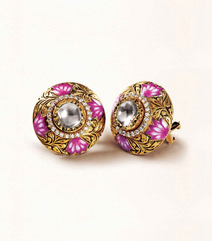 Zoya stud earrings in yellow gold with polki diamonds, engraving and enamel work