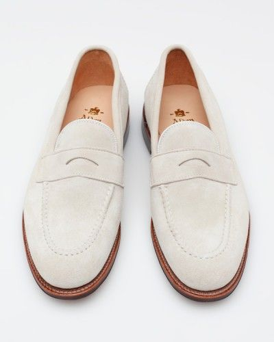 Alden for Need Supply Co. white suede loafers--the perfect summer boat shoe alternative