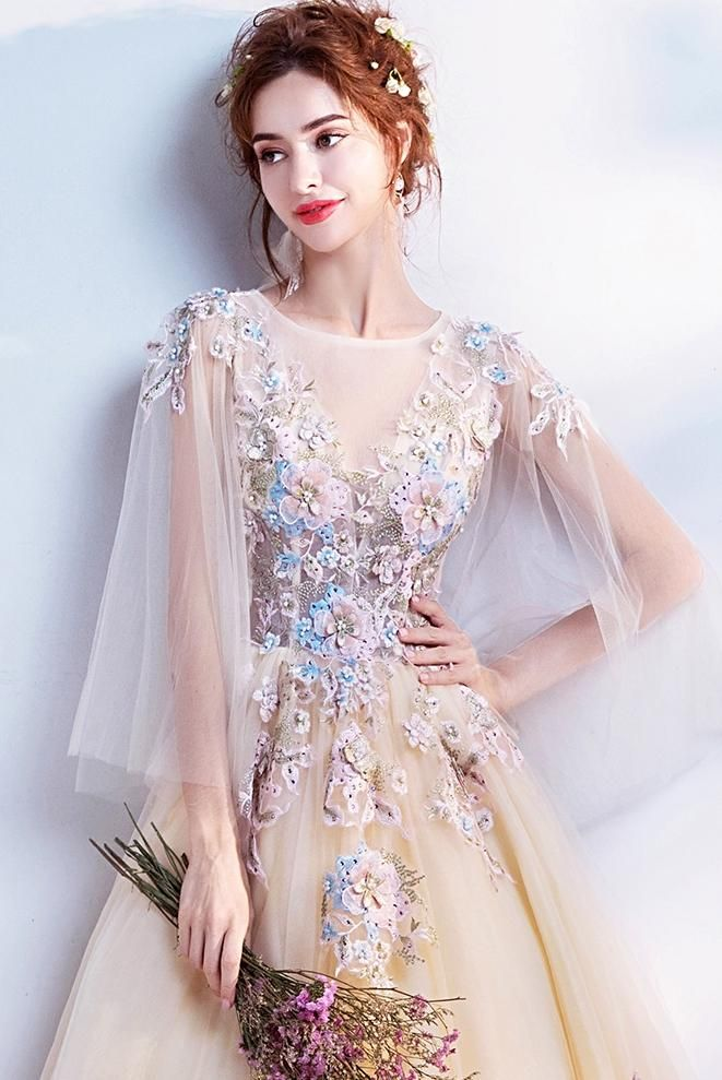 Chic Lace Prom Dress Long Sleeve Tulle Cheap Prom Dress Vb2391 Demidress Com Evening Gowns With Sleeves Prom Dresses Long Lace Yellow Wedding Dress