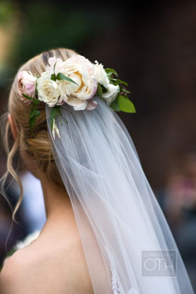Florals and a veil: http://www.stylemepretty.com/little-black-book-blog/2015/03/18/elegant-ethereal-wedding-at-cipriani-wall-street/ | Photography: Christian Oth - http://www.christianothstudio.com/