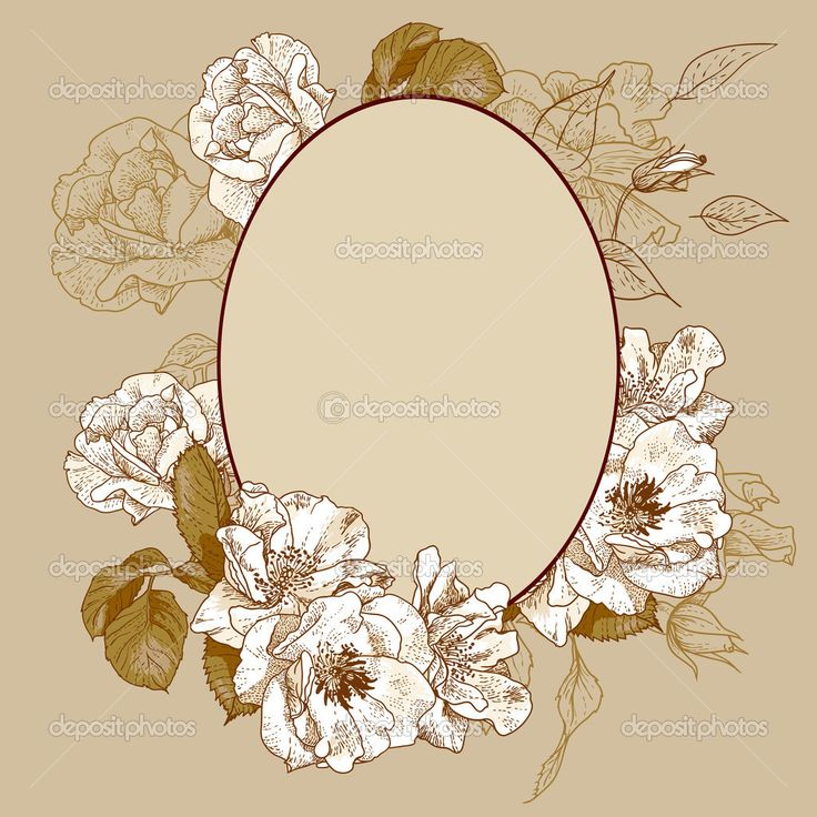 Vintage roses oval frame — Stock Vector © Depiano #27148457