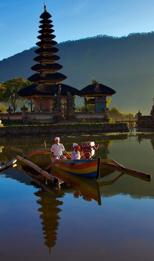 Bratan lake and Ulun Danu temple in Bali, Indonesia