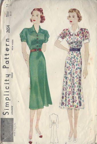 "1930s Vintage Sewing Pattern DRESS B32"" (R586) | eBay"