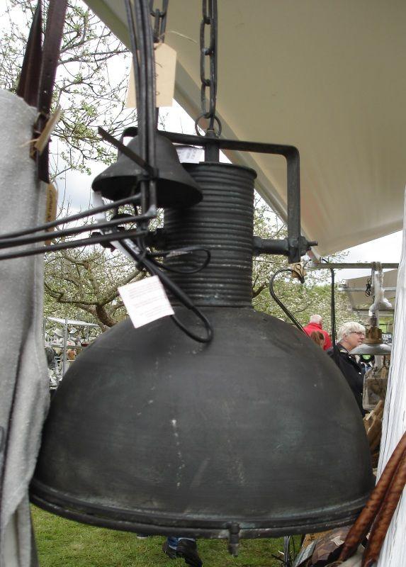 Stoere Industriële hanglamp met oude look metaal/glas