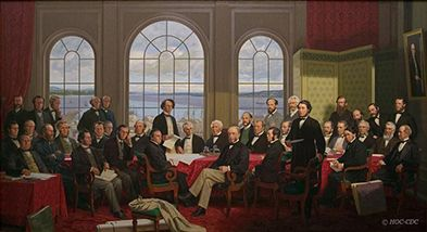 In the fall of 1864, the political leaders of British North America attended meetings in Charlottetown and Québec during which they laid out the fundamental principles that led to the creation of the new country of Canada on July 1, 1867. SOURCE: http://www.pc.gc.ca/eng/culture/1864/index.aspx