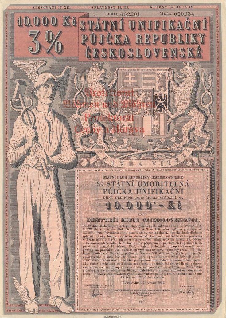 Státní unifikační půjčka republiky Československé na 10 000 Kč. Praha, 1936.