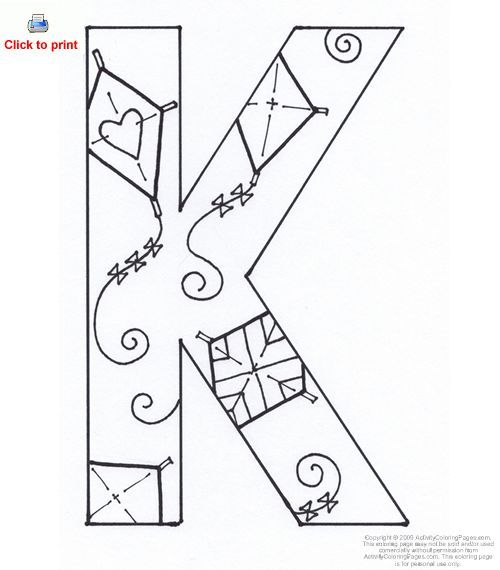 Letter K coloring page | Coloring pages | 570x500
