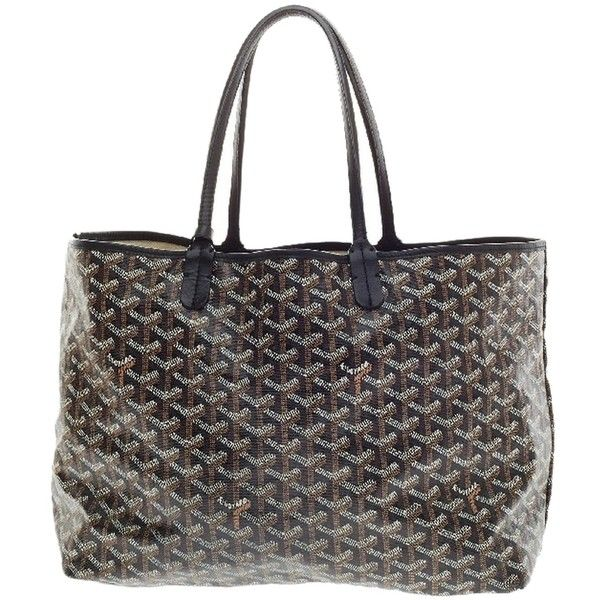 Pre-owned Goyard St. Louis Canvas Pm Black, Cognac And Creme Tote Bag (10 415 SEK) ❤ liked on Polyvore