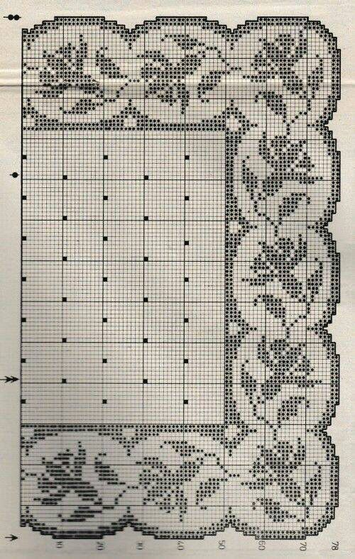 Filet crochet doily tablecloth