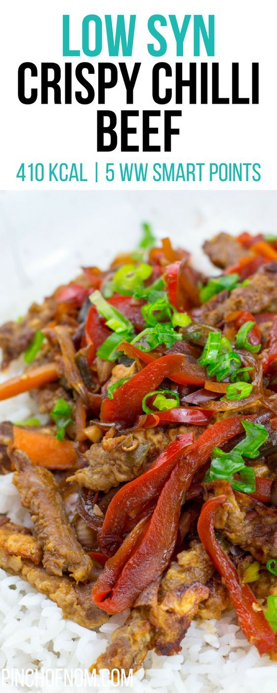 Low Syn Crispy Chilli Beef | Pinch Of Nom Slimming World Recipes   410 kcal | 1 Syn | 5 Weight Watchers Smart Points