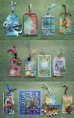 More variations on Tim Holtz's Christmas tags