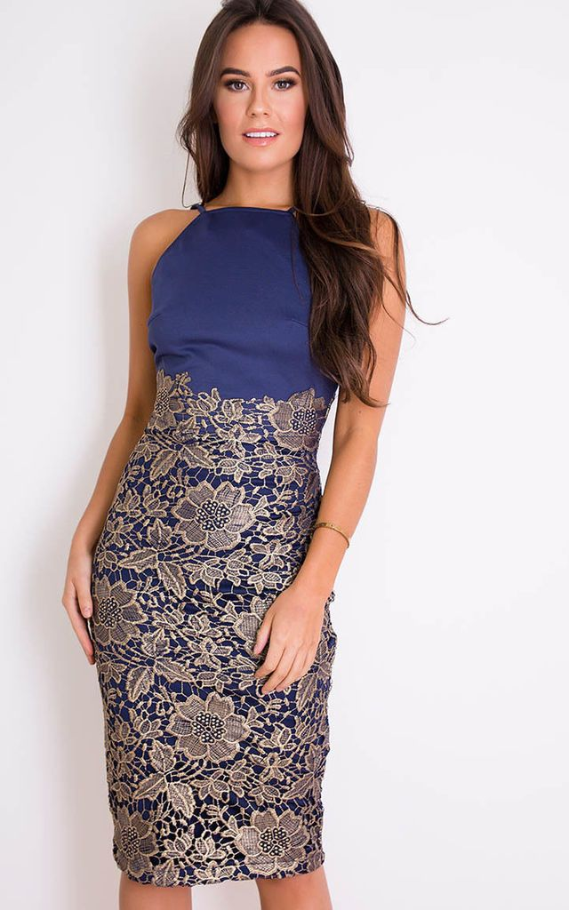 4fcaa6f9c644 Tammy Lace Midi Dress Navy/Gold by Girl In Mind | Fashion | Navy ...