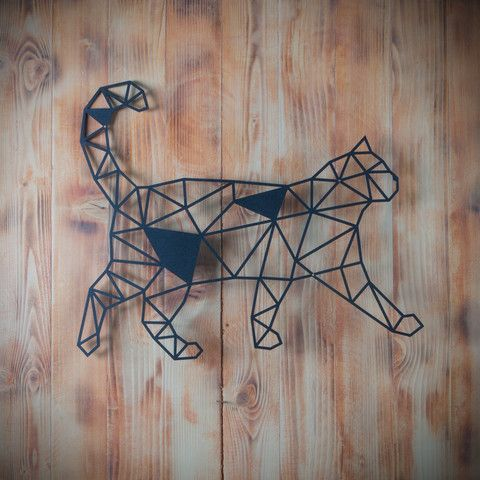 Metal Plaka - Cat ev dekorasyonu,dekorasyon fikirleri,duvar dekorasyonu,iç dekorasyon,ofis dekorasyonu,metal dekoratif ürün,geometrik hayvan figürü,geometrik kedi,tasarım,hediye,hediye fikirleri,hediyelik eşya www.hoagard.com