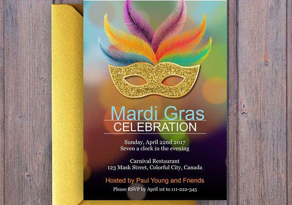 Brazil Invitation. Birthday or Carnival Party. Mask