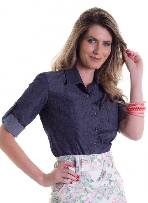 Camisa manga longa com martingale *Catálogo
