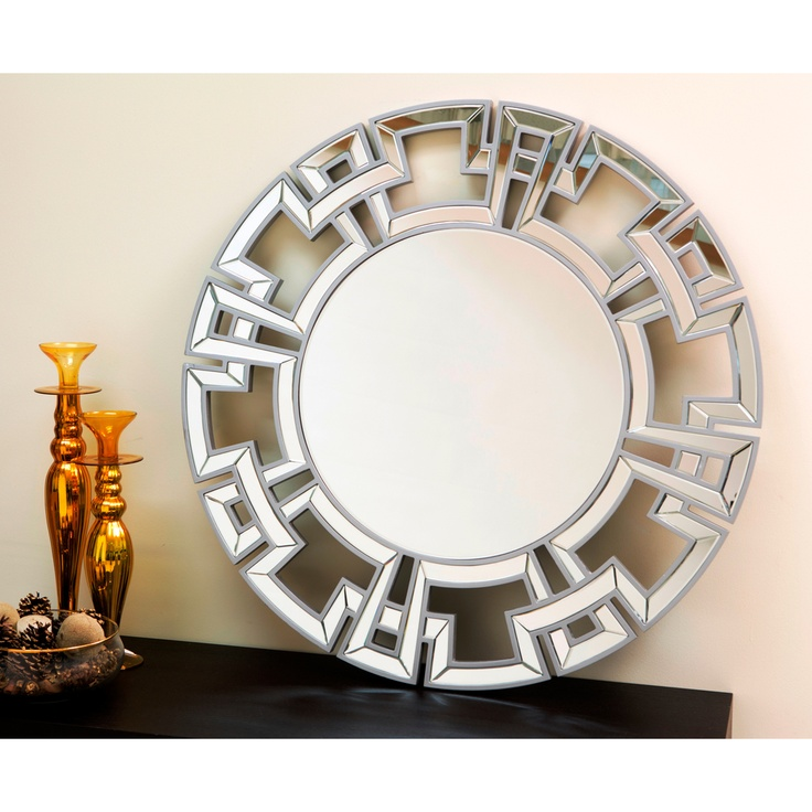 Abbyson living pierre silver round wall mirror for Round silver wall mirror