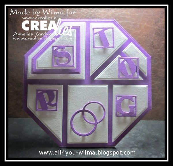 "Made by Wilma: https://www.crealies.nl/detail/1346781/15-07-23-wilma.htm & http://www.crealies.blogspot.nl/2015/07/storing.html  Crealies items: Modern Patchwork no. 3 Duo Dies no. 19 Dubbele ringen & harten/Double rings & hearts Partz no. 1 ""KERST"" Partz no. 6 ""HOERA"" Partz no. 7 ""JARIG"""