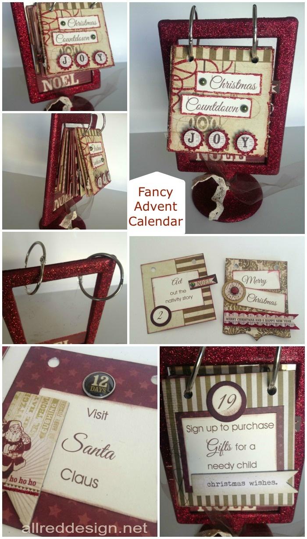 Fancy Christmas Countdown Calendar by allreddesign.net #adventcalendar